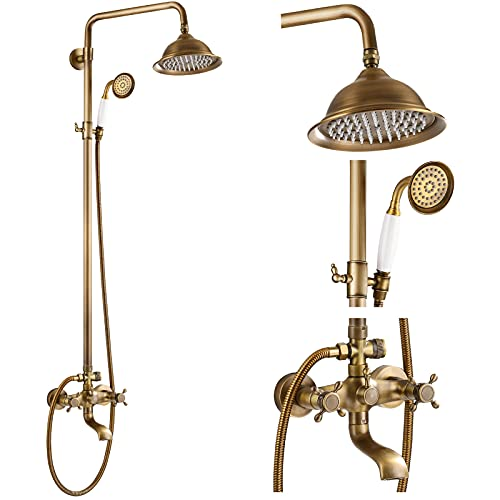 Antique Brass Shower System 8 Inch Rainfall Shower Head with Tub Spout and Handheld Spray Double Cross Handle Bathroom Shower Faucet Wall Mount