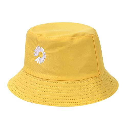 Matefielduk Frauen Gänseblümchen Bestickt Summer Beach Sun Bucket Hat Fischer Mütze (gelb), Baby Hut,Baby-Mädchen Flapper Sonnenhut,Baby-Jungen Mütze,Unisex Baby Kleinkinder Sonn