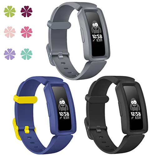 KOLEK Bands Compatible with Fitbit Ace 2 for Kids,Soft Silicone Waterproof Bracelet Accessories Sports Watch Strap Wristbands Replacement for Fitbit Ace 2 Boys Girls, Black/Navy Blue/Gray