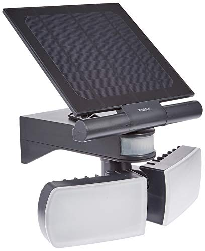 wasser TECH 307 LED センサーライト 高輝度 パワフル 2灯 ツインライト ソーラーライト 太陽光充電 赤外線 人感 光感知 コードレス 700Lm 4000mAh 屋内屋外 防水保護 カラー:ブラック IPX4 wasser-tech3