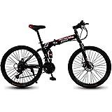 Plegable Montaña Bicicleta Adulto Bicicleta con Doble Conmoción Absorción y Doble Desct Frenos Masculino y Hembra Estudiante Variable Velocidad Bicicleta,Negro,24IN