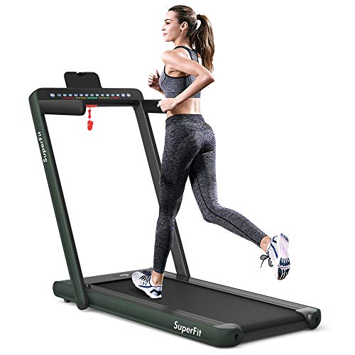 Goplus 2 in 1 Folding Treadmill with Dual Display, 2.25HP Under Desk Electric Pad Treadmill, Installation-Free, Bluetooth Speaker, Remote Control, Walking Jogging Machine for Home/Office Use (Green)
