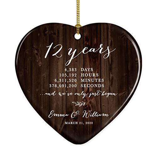 Andaz Press Personalized Name Heart Porcelain Ceramic 12th Wedding Anniversary Christmas Tree Ornament Gift, 12 Years, 4383 Days, 105192 Hours, 6311520 Minutes, 378691200, Rustic Wood, 1-Pack