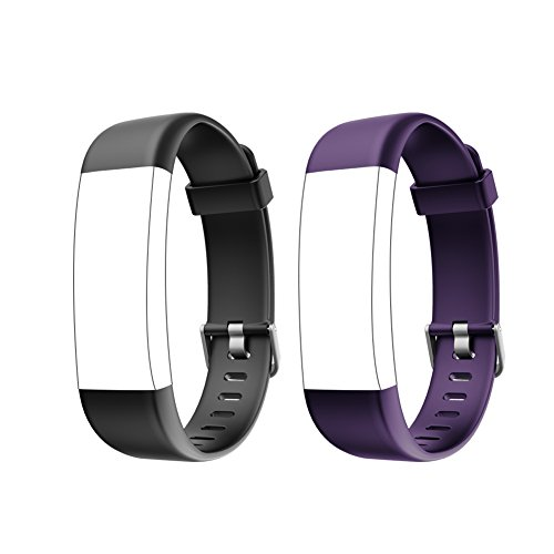 Letsfit ID130Plus HR Replacement Bands, Adjustable Accessory Bands for Letsfit Fitness Tracker ID130Plus HR, ID130Plus Color HR, 2 Pack (Black, Purple)