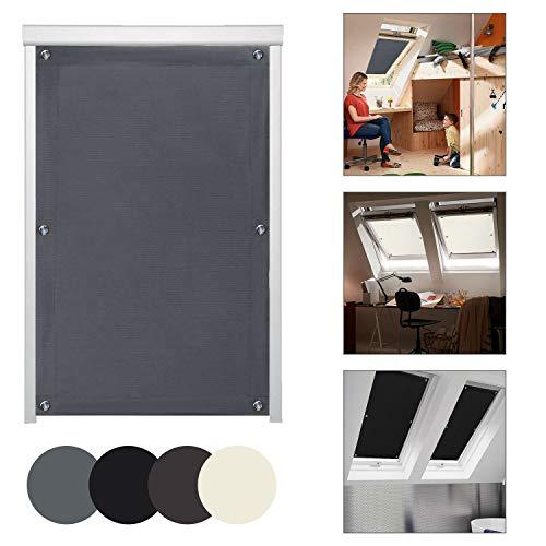 KINLO Thermo Sonnenschutz Dachfensterrollo für Dachfenster Y87 und 087 ohne Bohren Verdunklungsrollo Rollo UV Schutz mit Saugnäpfe, Dunkelgrau 96 x 120 cm