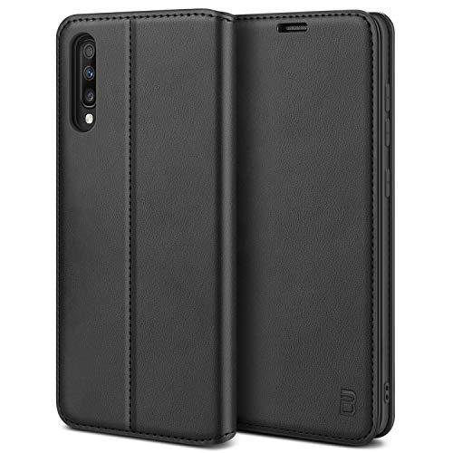 BEZ Handyhülle für Samsung Galaxy A70 Hülle, Premium Tasche Kompatibel für Samsung A70, Schutzhüllen aus Klappetui mit Kreditkartenhaltern, Ständer, Magnetverschluss, Schwarz