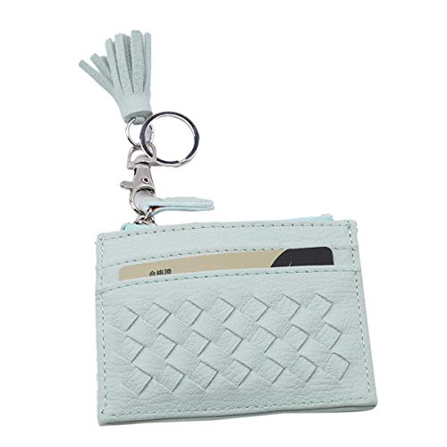 Winwinfly Leder Geldbörse Kreditkarte Tasche Reißverschluss Geldbörse Schlüsselanhänger Organizer Münzhalter Geldbörsen Pouchs, Hellgrün