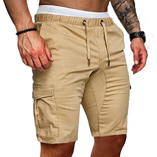 BIONIO Men's Twill Cargo Shorts with Multi Pockets, Plus Size Loose Fit Elastic Waist Summer Tooling Shorts with Drawstring Khaki
