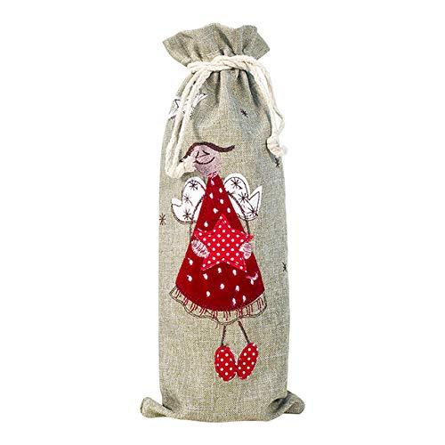 Avmy Red Wine Bottle Covers Bolsa Navidad Papá Noel Muñeco de Nieve Lino Champagne Fundas para Botellas Fiesta de Navidad Decoración del hogar, B