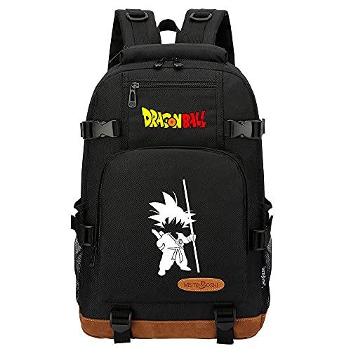 ZXXFR Mochila bolsos Anime Dragon Ball Teen Student School Bag Negro senderismo portatil ordenador instituto escolares juveniles bolso