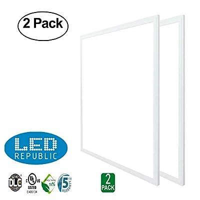 LED Republic Panel Light 2x2, (24''x24''), 40W (140W Equivalent),4300 Lumens, 5000K Daylight Cool White,DLC & UL, 2 PACK