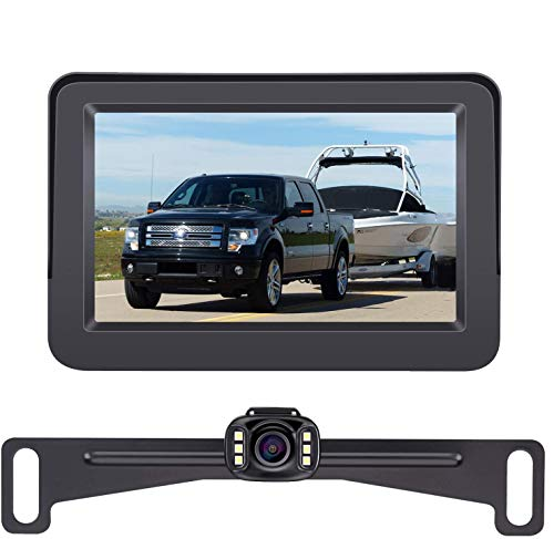 DoHonest Backup Camera and Monitor Kit HD 720P Easy Installation for Car/SUV/Pickup/Truck/Van/RV/Trailer Single Power Rear View System Driving/Reversing Use IP69 Waterproof Night Vision