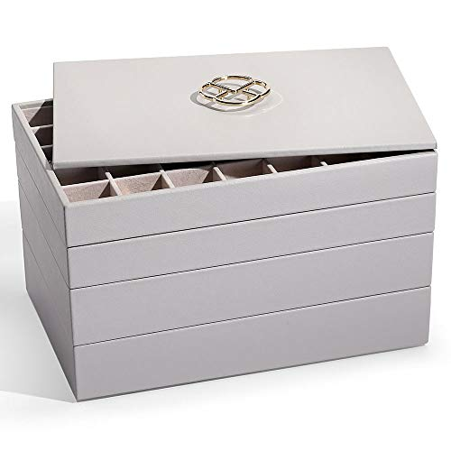 Vlando Jewelry Tray Jewelry Organizer for Drawer - Jewelry Organizer Tray Jewelry Drawer Organizer Stackable Jewelry Organizer Trays Drawer Jewelry Organizer-Grey