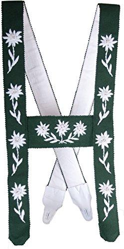Herren Trachten Allgäuer Edelweiss Hosenträger Handgestickt grün mit weißem Stick, Hosenträger:6-120 cm