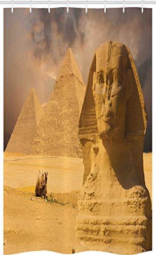 ABAKUHAUS Egyptische Douchegordijn, Sphinx Old Gezicht, voor Douchecabine Stoffen Badkamer Decoratie Set met Ophangringen, 120 x 180 cm, Amber Sand Brown