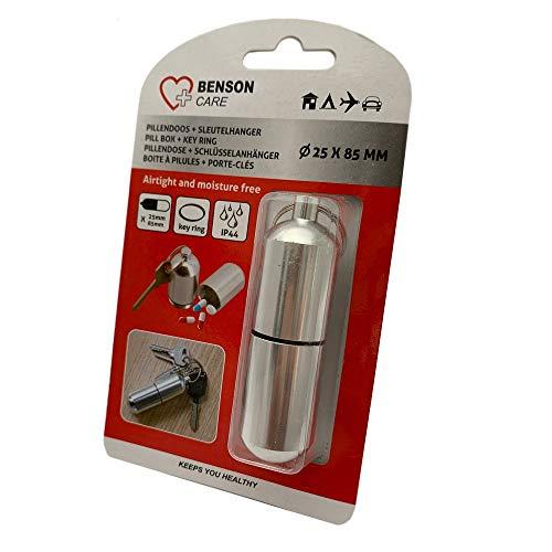 Pillendoos sleutelhanger 22 x 75 mm alu