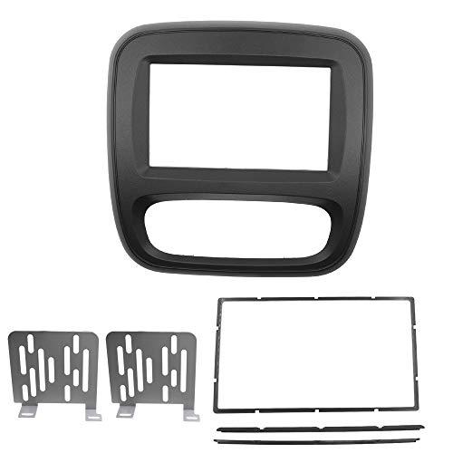 KAOLALI Doppio Din Fascia Autoradio DVD Pannello Telaio Compatibile con Renault Trafic Per Opel Vivaro 2015+2Din Audio Stereo Copertura Cruscotto Pannello Kit