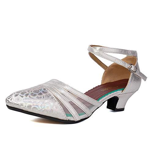 VCIXXVCE Damen Knöchelriemen geschlossen Zehen Glitter Latin Salsa Tango Tanzschuhe Party Ballsaal Tanzschuhe, modèle DY-N302, Silber, EU 40