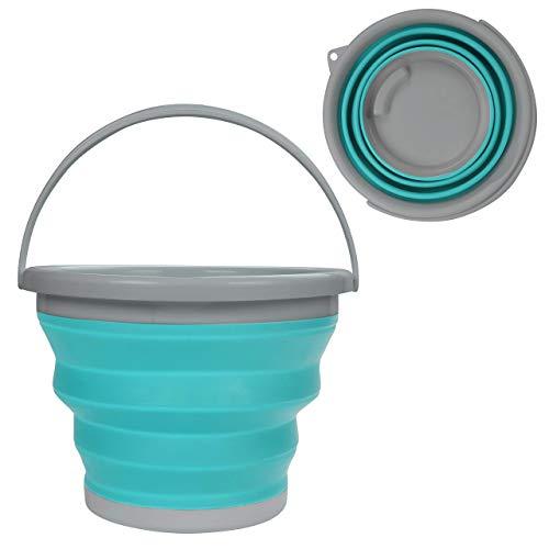 Zusammenklappbarer Faltbarer Wassereimer - 10litre Blau Silikon Kunststoff Mehrzweckeimer mit Tragegriff - Großer Faltbarer Kübel zum Angeln, Camping, Rucksacktour und Autowaschen