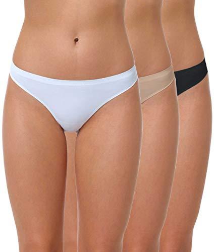 Yenita 3er Pack Damen String Invisible, Tanga ohne Nähte aus Mikrofaser, gemischt (schwarz, Weiss, Haut), Gr. L