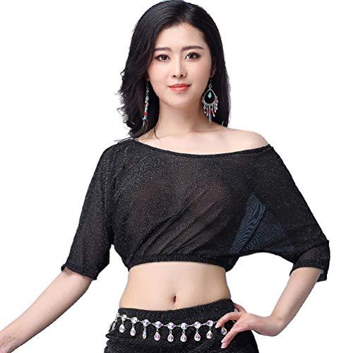 YiiJee Donna Danza del Ventre Costume del performante Belly Dance Tops Maglietta Abbigliamento del Danza Nero L