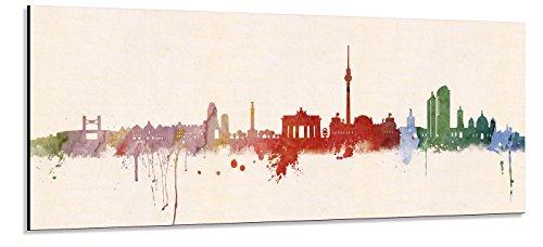 Acrylglas Wandbild Berlin Skyline Panorama - Acrylglas mit Alu-dibond-Aufhängesystem - Farbe (div. Größen) - Kunst Druck auf Acrylglas 30x90cm