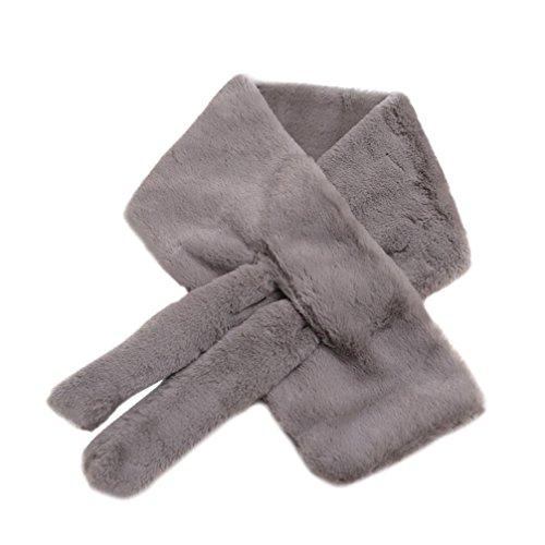 Koly_donne ispessite inverno caldo sciarpa peluche pelliccia finta (Grigio)