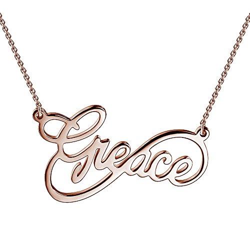 Soufeel Namenskette Unendlichkeits Persönalisierte Namen Halskette 925 Sterling Silber mit Rosegold (Keine Interpunktion und Symbole)
