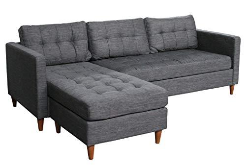 KMH, Ecksofa Oslo, Strukturstoff grau, Breite 216 cm, Seiten vertauschbar (#204635)