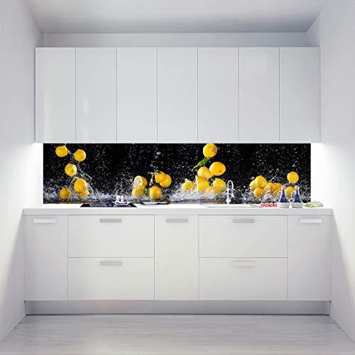 Küchenrückwand Alu Verbundplatten als Einzelplatte oder Plattenset für Eck und U-Form Küchen Zuschnitt auf Maß - Motiv Lemon Dance