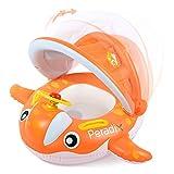 Peradix Flotadora para bebés 12meses-3 Años Barco Inflable Flotador con Sombrero para el Sol y Asiento Respaldo Techo Ajustable Juguetes de Desarrollo de Natación en Agua para Niños (Naranja)