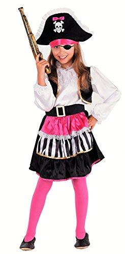 Magicoo Lady Piratin Piratenkostüm Kinder Mädchen Pirat-Kostüm Piratin inkl. Piratenkleid & Hut - Pink-schwarz-weiß - (110/120)