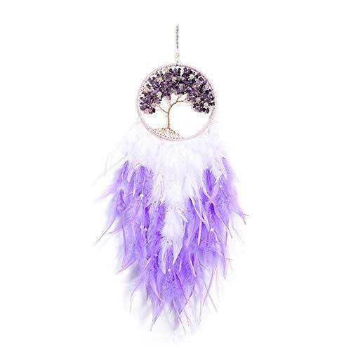 DFSMG Chica Corazón Sueño Catcher Adornos Adornos Encaje Luces Chicas Sala Decoración Dreamcatcher (Color : Violet, Size : with Lights)