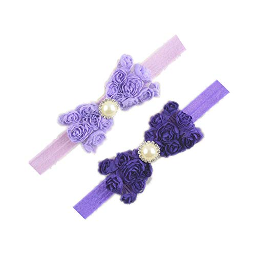Baby Girls Headbands Lace Rose Bows Pearl Elastic Hair Band Kids with15 colors (Lavender+Purple)