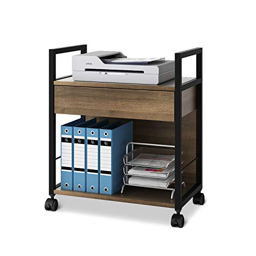 DEVAISE Mobile Printer Stand with Storage Drawer, Modern File Cabinet Printer Cart for Home Office, Gary Oak