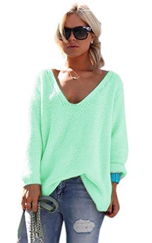 Mikos* Damen Pullover Hoodie Sweatshirt Warm Lange Ärmel Casual Sleeve Pullover Jacke Slim Mantel Tops (617) (Hellmint)