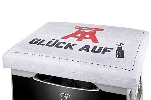 Gilde - 49830 - Kunststoff Sitzpolster für Getränkekisten, Glück auf, weiß, 32cm x 42cm x 5cm, paßt auf den handelsüblichen Bier- oder Getränkekasten.