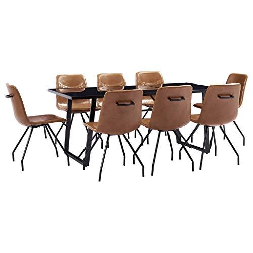 vidaXL Essgruppe 9-TLG. Sitzgruppe Esstischset Esszimmergarnitur Esszimmergruppe Tischset Esszimmertisch Esstisch 8 Stühle Cognac Kunstleder