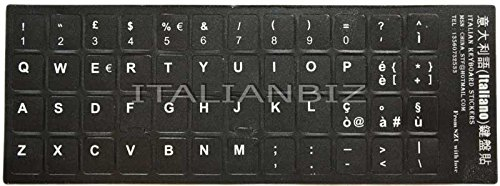 ITALIANBIZ Sticker Adesivo per Tastiera con Layout Italiano - Tasti Adesivi Indelebili - Nero