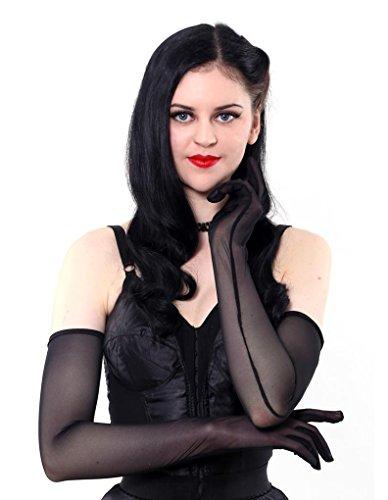 What Katie Did A2016 Lange Transparente Schwarze Handschuhe Einheitsgrösse