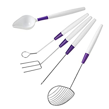 Wilton Candy Melts Candy Decorating Set - 5-Piece Candy Dipping Tools Set - 3-prong Dipping fork, Cradling Spoon, Spear, Slotted Spoon and Drizzling Scoop