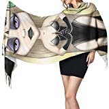 27'x77 Soft Wrap Shawl Retrato de una hermosa niña Bufanda de la muerte Bufanda de gran tamaño del diseñador Mujeres elegante manta cálida grande