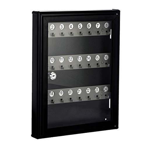 AdirOffice Glass Key Cabinet Security Box - Wall Mount Valet Lock Box - Adjustable Key Cabinet - Holds 24 Keys (Black)