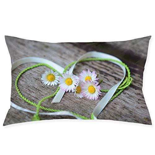 lymknumb Cremallera Oculta, Funda de Almohada Colorida, Simple y Elegante, Adecuada para Almohadas de sofá, Cojines de Coche Daisyheartromanticvalen