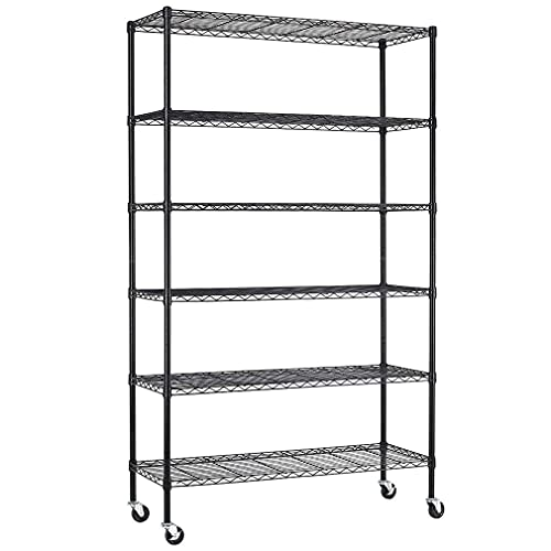 48' L×18' W×82' H Wire Shelving Unit 2100Lbs Capacity Metal Shelf with 6 Tier Casters Adjustable Layer Rack Strong Steel for Restaurant Garage Pantry Kitchen Garage,Black