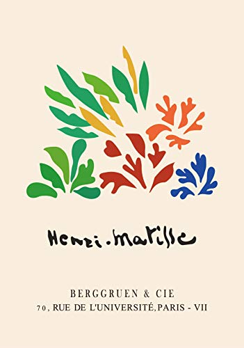 Póster Vintage de Henri Matisse, impresiones en lienzo, pintura abstracta, arte de pared mínimo, pintura en lienzo sin marco rosa y azul D 60x80cm