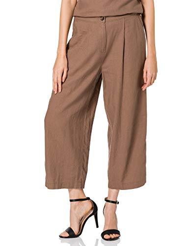 MERAKI Damen Chino-Hosen aus Leinen, Braun (Brown), 38, Label: M