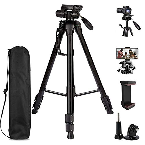 Sumcoo Tripod for Camera, 60-inch Lightweight Camera Tripod with Portable Pouch, Aluminum Alloy, Universal Phone Holder and Bluetooth Remote for DSLR Cameras & iPhone (Black)