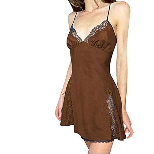 Damen sexy V-Ausschnitt Spitze Spaghettiträger Leibchen Minikleider Patchwork Dessous Bodycon E-Girl Kleid Y2K (Braun, S)