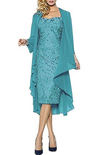 CoCogirls, elegante abito da sera e da matrimonio in pizzo con giacca, ideale per la mamma della sposa o per serata danzante turchese 50